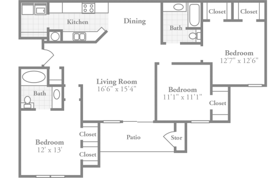 crowne polo apartments winston salem nc offers two extra spacious three bedroom floor plans with an intimate dining room large inviting living room - Living Room Floor Plans